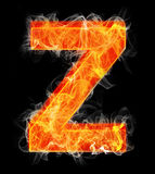 Burning letters as alphabet type Z. Burning letters as alphabet type Royalty Free Stock Image
