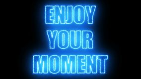 Burning letters of Enjoy your moment text on black, 3d render background, computer generating stock video footage