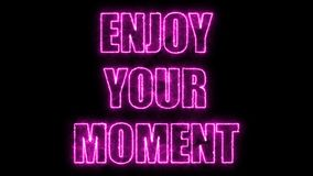 Burning letters of Enjoy your moment text on black, 3d render background, computer generating. Burning letters of Enjoy your moment text on black, 3d rendering Royalty Free Stock Photography