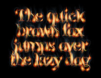Burning Letters. Fire Burning Latin Alphabet Font Royalty Free Stock Photography