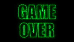 Burning letters of Game over text on black, 3d render background, computer generating for gaming stock footage