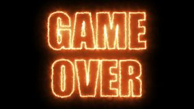 Burning letters of Game over text on black, 3d render background, computer generating for gaming stock video footage
