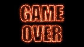 Burning letters of Game over text on black, 3d render background, computer generating for gaming. Burning letters of Game over text on black, 3d rendering Stock Images