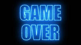 Burning letters of Game over text on black, 3d render background, computer generating for gaming. Burning letters of Game over text on black, 3d rendering Royalty Free Stock Images