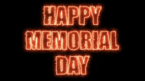 Burning letters of Happy memorial day text on black, 3d render background, computer generating for holidays festive. Burning letters of Happy memorial day text Royalty Free Stock Image