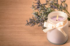 Burning levander candle Royalty Free Stock Images