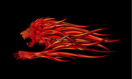Burning Lion. Vector illustration of a burning red lion Stock Photography