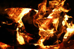 Burning Log Fire Stock Photography