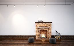 Burning log fire in a minimalist living room Stock Photography