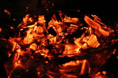 Burning Log in Hot Fire and Flames Royalty Free Stock Photo