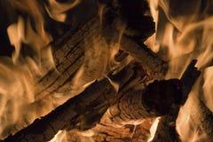Burning Logs. Close-up of burning logs Royalty Free Stock Image