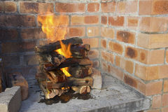 Burning logs Stock Photos