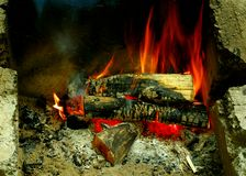 Burning logs in a campfire.  Number 4 of 6. Stock Photography