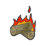 Burning logs cartoon Royalty Free Stock Photography