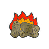 Burning logs cartoon Stock Photography