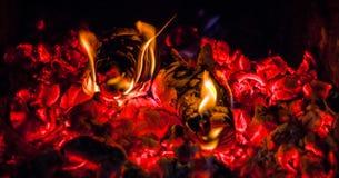 Burning logs Stock Images