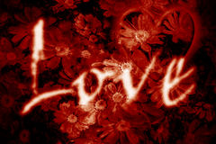 Burning Love. Love heart word over aged floral and heart background Stock Image