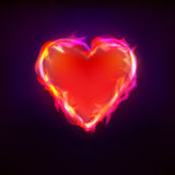 Burning love as heart symbol at fire graphic design Royalty Free Stock Image