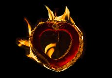 Burning Love Flaming Heart Royalty Free Stock Photography