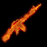Burning m16 rifle Stock Photo