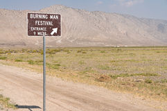 Burning Man Event sign in Gerlach, Nevada. Burning Man sign, approaching the Black Rock Desert in Gerlach, Nevada Stock Photos