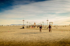 Burning Man Festival Early Morning Panorama Royalty Free Stock Images
