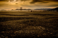 Burning Man Festival Early Morning Panorama Stock Photography