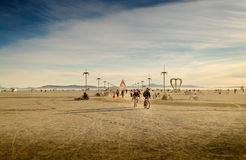 Burning Man Festival Early Morning Panorama Stock Image