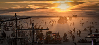 Burning Man Festival at sunrise Royalty Free Stock Photos