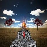 Burning man in lotus pose royalty free illustration