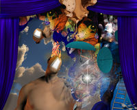 Burning Man. Surreal figure with burning mind and other symbolic elements Royalty Free Stock Photography