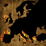 Burning map of europe Stock Image