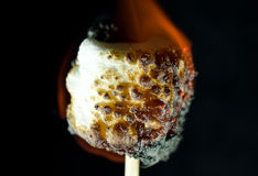 Burning marshmallow on a black background. A white marshmallow on fire on a black background Stock Image