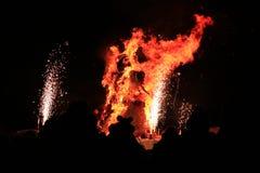 Burning of Maslenitsa Scarecrow in evening Royalty Free Stock Image