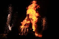 Burning of Maslenitsa Scarecrow in evening Royalty Free Stock Photography