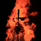 Burning of Maslenitsa Scarecrow in evening Stock Images