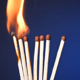 Burning match. Fire Royalty Free Stock Image