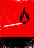 Burning match. Red and black poster with burning match Stock Image