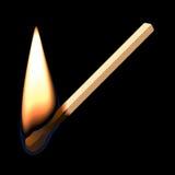 Burning match. Vector illustration of a burning match on black Royalty Free Stock Photo