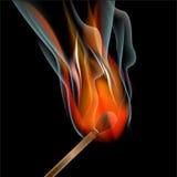 Burning match on black background Royalty Free Stock Photos