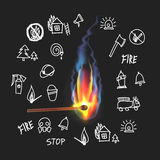 Burning match on a black background. Fire. Set. Sketch symbol outline vector fireman fireball doodle sketch Royalty Free Stock Images