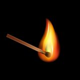 Burning match on a black background vector.  Royalty Free Stock Photos