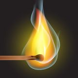 Burning match on a black background vector Stock Images