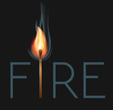 Burning match. Fire lettering with burning match Stock Images