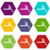 Burning match icon set color hexahedron. Burning match icon set many color hexahedron isolated on white vector illustration Stock Photos