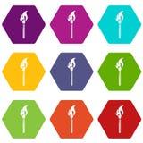 Burning match icons set 9 vector. Burning match icons 9 set coloful isolated on white for web Stock Photo