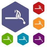 Burning match icons set hexagon Stock Images