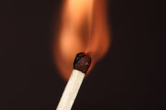 Burning match. Match in the initial moment of ignition Royalty Free Stock Image