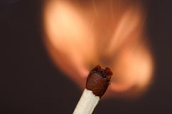 Burning match. Match in the initial moment of ignition Royalty Free Stock Photos