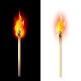 Burning match. Realistic burning match. Illustration on white and black Royalty Free Illustration